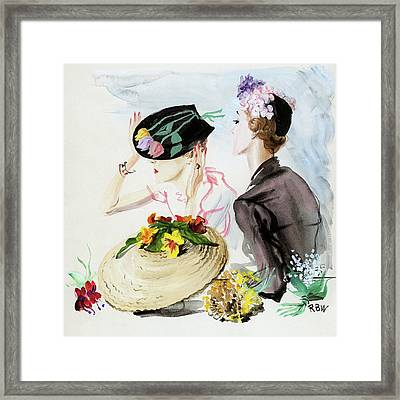 Women Wearing Suzy Hats Framed Print by Rene Bouet-Willaumez