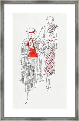 Women Wearing Tweed And Plaid Framed Print