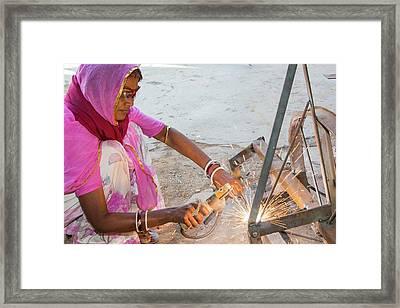 Women Welding Joints Framed Print