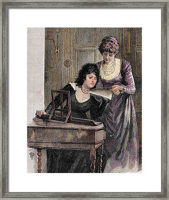 Women With A Harpsichord Framed Print by Prisma Archivo