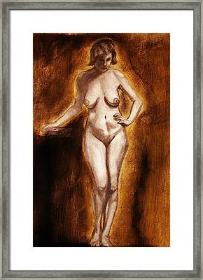Framed Print featuring the drawing Women With Curves Are Beautiful 2 by Michael Cross