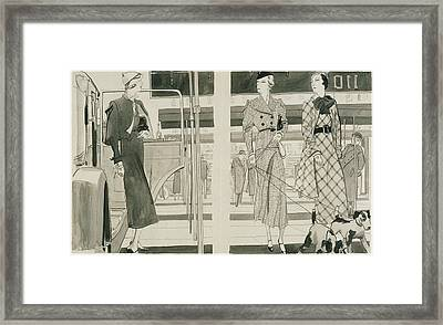 Women With Dogs By A Car Framed Print