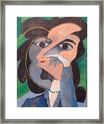 Women With Green Necklace Framed Print by John Andro Avendano
