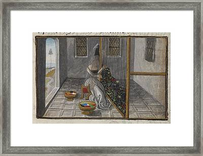 Women Working At A Loom Framed Print by British Library