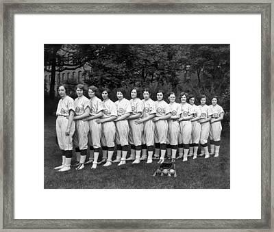 Women's Baseball Team Framed Print