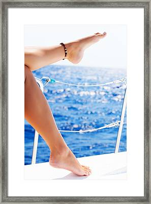 Women's Feet On The Yacht Framed Print