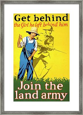 Women's Land Army Recruitment Poster Framed Print by Library Of Congress