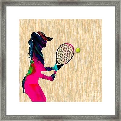 Womens Tennis Watercolor Framed Print
