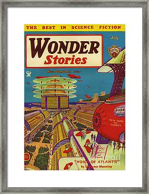 Wonder Stories  1934 1930s Usa Framed Print by The Advertising Archives