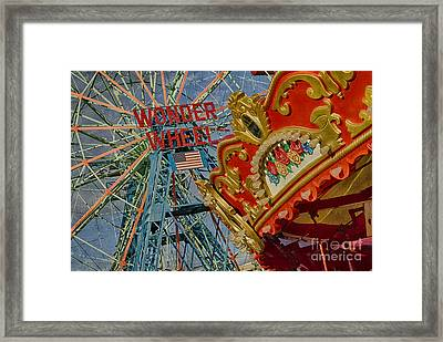 Framed Print featuring the photograph Wonder Wheel - Coney Island by Vicki DeVico