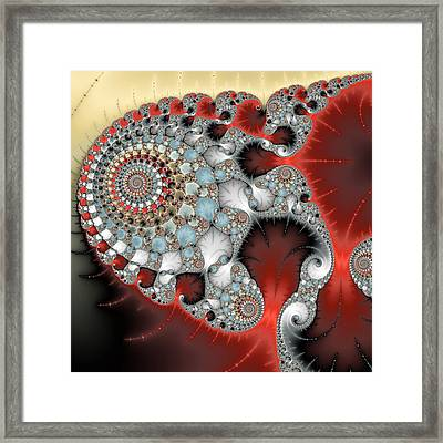 Wonderful Abstract Fractal Spirals Red Grey Yellow And Light Blue Framed Print