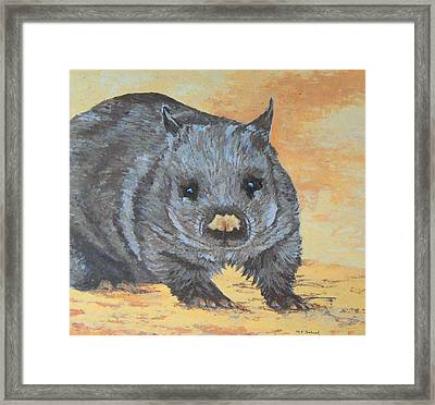 Framed Print featuring the painting Wonderful Wombat by Margaret Saheed