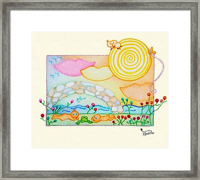 Woobies Character Baby Art Colorful Whimsical Flowers Floral Design By Romi Neilson Framed Print by Megan Duncanson