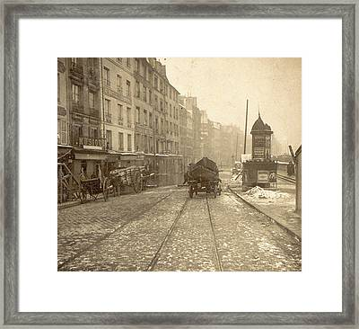 Wood And Vessel Laden Handcarts In A Street Framed Print