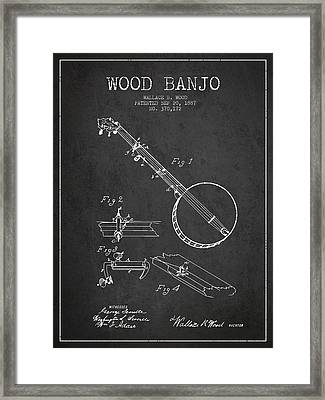 Wood Banjo Patent Drawing From 1887 - Dark Framed Print by Aged Pixel
