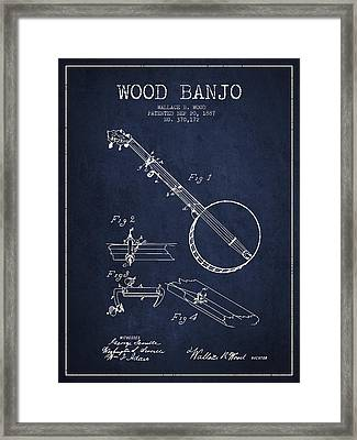 Wood Banjo Patent Drawing From 1887 - Navy Blue Framed Print