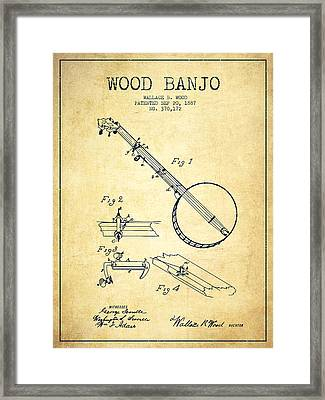 Wood Banjo Patent Drawing From 1887 - Vintage Framed Print