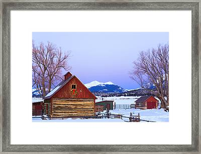 Wood Barn Wlighted Holiday Wreath & Framed Print
