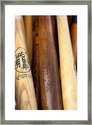 Wood Baseball Bats Framed Print by Art Block Collections