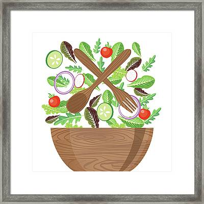 Wood Bowl Of Salad With Flying Framed Print by Diane Labombarbe
