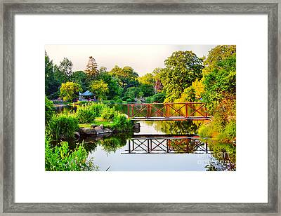 Wood Bridge Reflection Framed Print