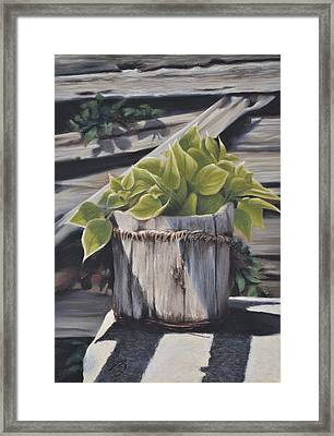 Wood Bucket - Pastel Framed Print