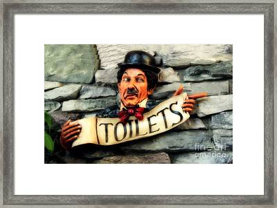 Framed Print featuring the photograph Wood Carved Toilet Sign by Marjorie Imbeau
