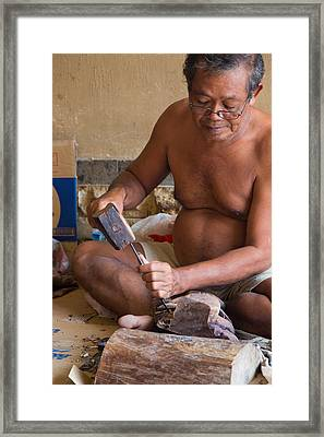 Wood Carver - Bali Framed Print by Matthew Onheiber