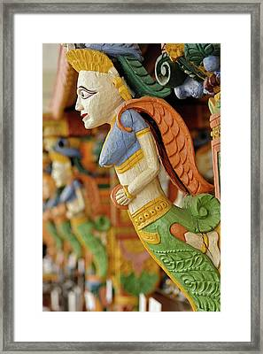 Wood Carving At Outdoor Bar, Raj Palace Framed Print by Adam Jones