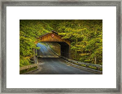 Wood Covered Bridge In Autumn At Sleeping Bear Dunes Framed Print