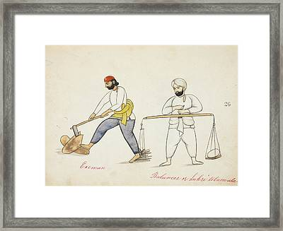 Wood-cutters Splitting And Weighing Wood Framed Print by British Library