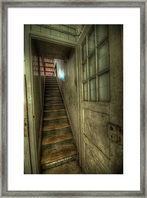 Wood Door And Stairs Framed Print