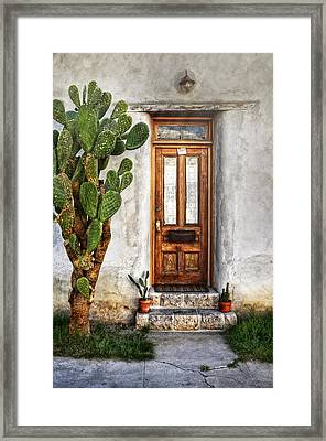 Framed Print featuring the photograph Wood Door In Tuscon by Ken Smith