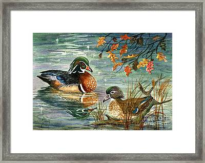 Wood Duck Pair Framed Print by Marilyn Smith