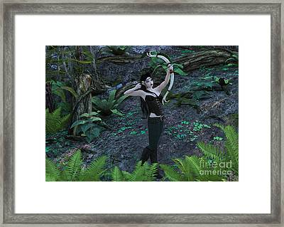 Wood Elf Archer Female In Woods Framed Print