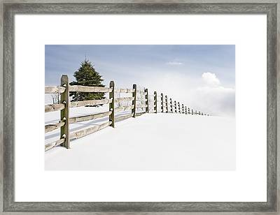 Wood Fence - Old Wood Fence In The Pristine White Snow Framed Print by Gary Heller
