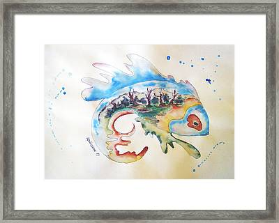 Wood-fish Framed Print by Natasa Dobrosavljev