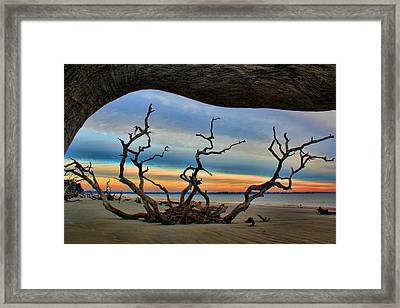 Wood Frame At Roots Beach Framed Print by Leslie Kirk