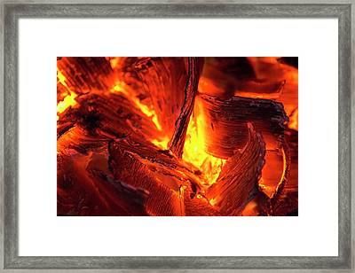 Wood Glowing On A Fire Framed Print by Ashley Cooper