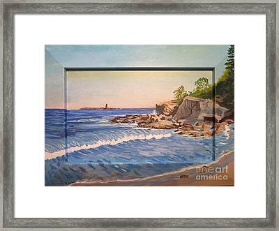 Wood Island Lighthouse In Biddeford Pool Framed Print by Stella Sherman