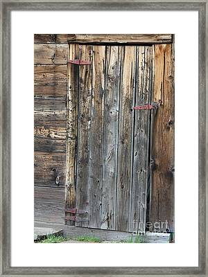 Framed Print featuring the photograph Wood Shed Door by Ann E Robson