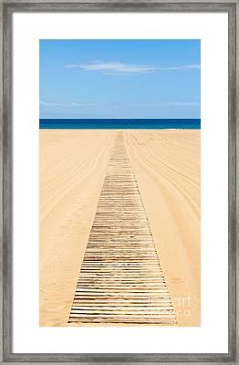 Wood Slat Wheelchair Beach Access Ramp Framed Print