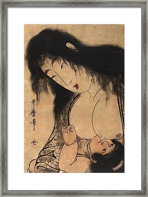 Woodblock Print Of Yamauba Framed Print