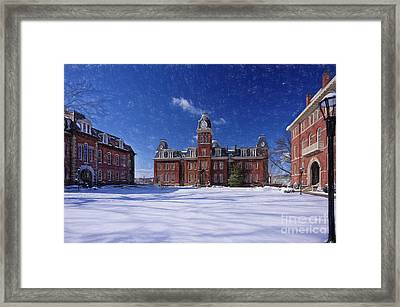 Framed Print featuring the photograph Woodburn Hall In Snow Strom Paintography by Dan Friend