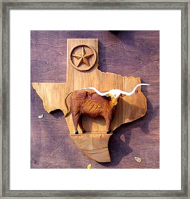 Woodcrafted Texas Longhorn Framed Print by Michael Pasko