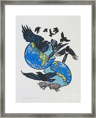 Woodcut Cover Illustration For Corvidae - Poems By Bj Buckley Framed Print