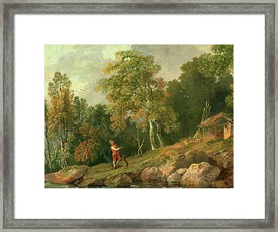 Wooded Landscape With A Boy And His Dog, George Barret Framed Print by Litz Collection