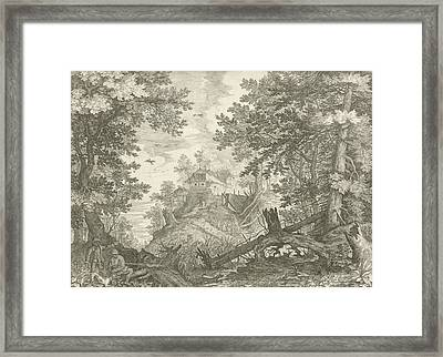 Wooded Landscape With Two Hunters And A Dog Framed Print