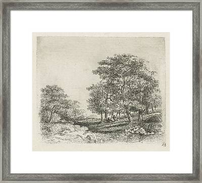Wooded Landscape With Two Men Conversing Framed Print