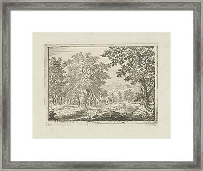 Wooded River Landscape, Jean Joseph Hanson Framed Print